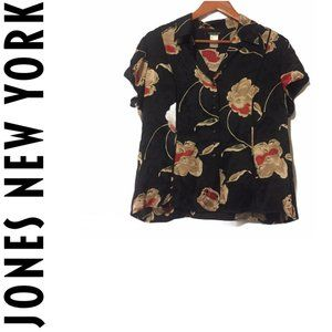 Jones NY 100% Silk Floral Blouse